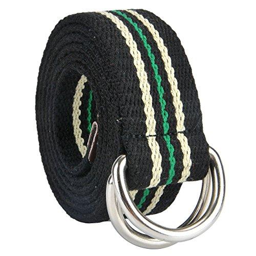 Faleto Herren Damen Gürtel Gestreift Stoffgürtel mit Doppel D-ringe Schnalle Leinwand Canvas Jeansgürtel Belts 130cm + Original Geschenkbox (#08) -