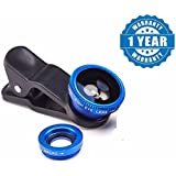 Drumstone 3 In 1 Cell Phone Camera Lens Kit -Fish Eye Lens/2 In 1 Macro Lens & Wide Angle Lens/Universal Clip Works With All Android Or Iphone Devices