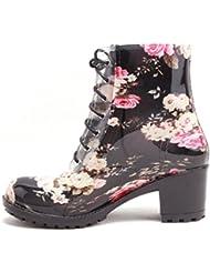 Agua de las mujeres elegantes zapatos de tacón impresión Martin botas encaje botas damas bota lluvia Botas de lluvia , black camellia , 38