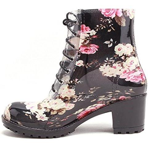 Acqua delle donne eleganti scarpe tacco alto stampa Martin stivali pizzo stivali donna pioggia pioggia stivali , black camellia , 36