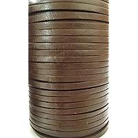 Piatto 3mm Qualità Vera Mucche Pelle Marrone Corda Pelle Creazione Gioielli Spago Filo Filo Perizoma - Marrone, 5m