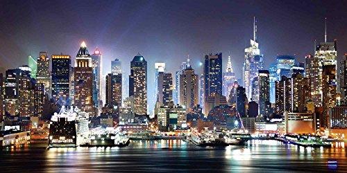 Artland Qualitätsbilder | Glasbild Deko Glas Bilder 100 x 50 cm Skyline New York Panorama Manhattan F1IL Amerika
