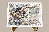 Geschenk Sternzeichen Waage Gedicht Spruch Zeichnung Color 20 x 15 cm mit Aufsteller