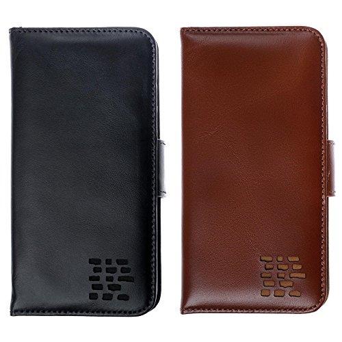"""Luxus Echtes Leder iPhone 6S iPhone 6 Ledertasche Kompakt Brieftasche Hülle mit """"Doppelt Schild"""" Schutz und Gegenüber Magnetverschluss um vermeiden Kreditkarte Korruption. Die Rila in Scharlachrot Vintage Mars Black"""