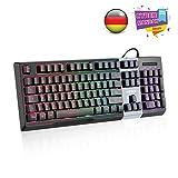 LESHP RGB Gaming Tastatur,Klangsteuerung Musiktastatur, 105 Tasten, LED-Hintergrundbeleuchtung 7 Farben Helligkeit- Schwarz - QWERTZ, deutsches Layout