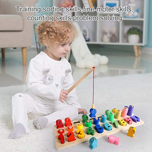 Imagen para LBLA Niños Puzzle de Bloques de Madera Montessori Tablero de Conteo de Números de Apilamiento de Clasificación Matemática Aprendizaje de Juguetes