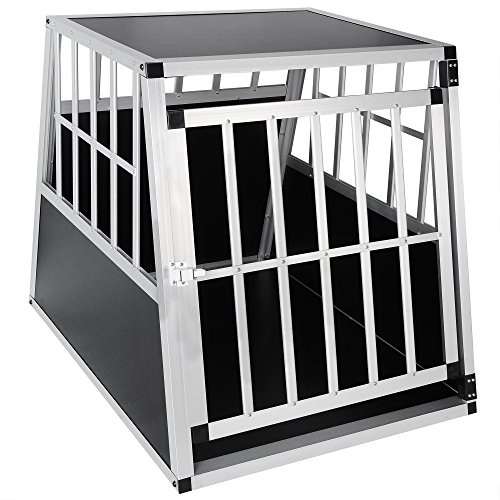 Hundebox Hundetransportbox Aluminium Alu Transportbox Alubox Hund Box 1 Türig Reisebox Gitterbox Schwarz/Silber HT2011 - 3