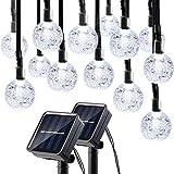 lederTEK Lumière Solaire (Lot de 2) 30 LED Guirlande Lumineuse Boules pour La Décoration Arbre Noël, Jardin Extérieur (Blanc)