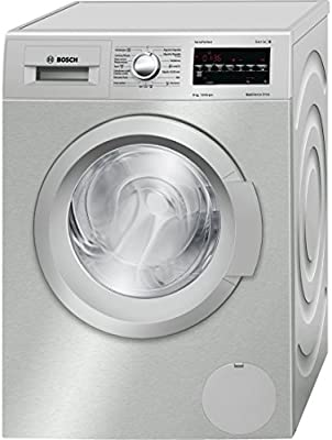 Bosch Serie 6 WAT2448XES Independiente Carga frontal 8kg 1200RPM A+++-30% Acero inoxidable - Lavadora (Independiente, Carga frontal, Acero inoxidable, LED, Rojo, Izquierda)