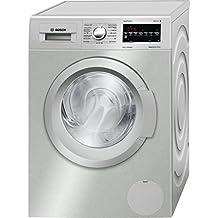 Bosch Serie 6 WAT2448XES Independiente Carga frontal 8kg 1200RPM A+++-30% Acero inoxidable - Lavadora (Independiente, Carga frontal, Acero inoxidable, Izquierda, LED, Rojo)