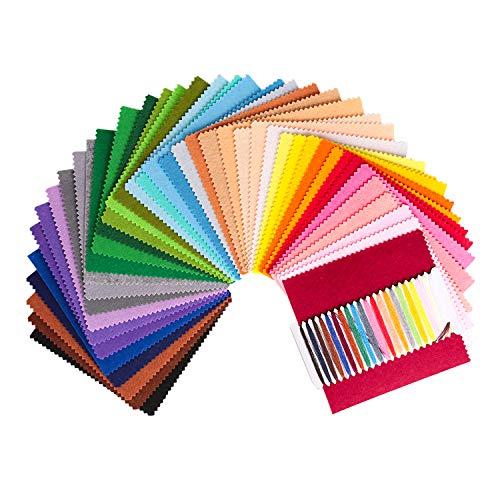 SOLEDI Feltro Colorato Feltro in Fogli 41 Colori 15*15 cm Feltro e Pannolenci Usato per DIY Mestieri per Bambini Protezione Ambientale, Sicura e Non Tossica con Bobina di Filo Tre Dimensioni