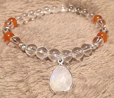 bracelet grossesse PIERRE DE LUNE CORNALINE CRISTAL DE ROCHE Maternité Fécondité Grossesse pierre naturelle Argent 925