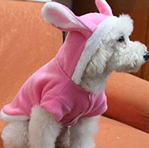 Pink Rabbit Easter Bunny Dog Cat Puppy Halloween Costume Clothes Pet Apparel Rabbit Dress Up - Pet Coat Hoodie One Size - Pet Supplies by Accessorybee by Accessorybee