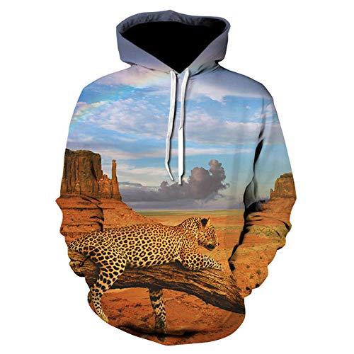 Kostüm Cheetah Mann - GEFANENR Unisex 3D Druck Hoodie,Wüste Cheetah Männer Frauen Liebhaber Hoodie Langarm Pullover Sweatshirt Jacke Pullover Shirt Wild Big Size Neuheit Hoodie Fell,4XL