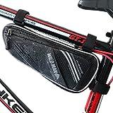 XBoze Borsa Triangolo Bici Borsa Telaio Bicicletta Triangolo Resistente con Striscia Riflettente per MTB BMX Borsa Bicicletta Front Triangle (Nero)