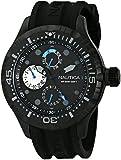 Nautica Men's Silicone Band Steel Case Quartz Black Dial Analog Watch N16681G