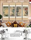HZARTS Peinture de Soie Salon décoration Quadruple Peinture canapé Fond Peinture Meilan Bambou chrysanthème Rouleau Peinture,C,55 * 160