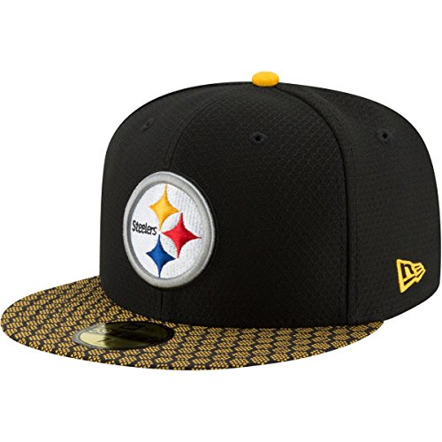 New Era 59Fifty Cap - NFL SIDELINE 2017 Pittsburgh Steelers , 7 3/4 - 62cm (XXL),Schwarz
