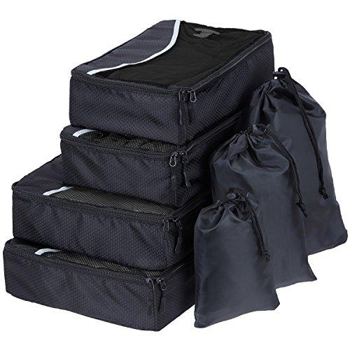 SWISSONA 7 Stück Premium Packwürfel, robust & langlebig, in schwarz | mit 2 Jahren Zufriedenheitsgarantie | Verpackungswürfel, Packtaschen, Kleidertasche, Koffer-Organizer, Aufbewahrungstasche (Tasche 8-teilig)