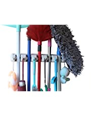 YOi Mop and Broom Holder with 5 Slot Position and 6 Hooks Upto 11 Tools (Ivory; Standard)