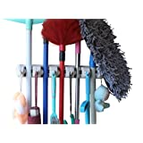 YOi Marz Mop and Broom Holder with 3 Slot Position and 4 Hooks