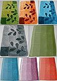 MB Warenhandel24 Badematte Badvorleger Badteppich Designer Grafik oder Farbverlauf Uni einfarbig 4 Größen 2 Varianten (Teppich Leaves Blau, ca. 70x120 cm)