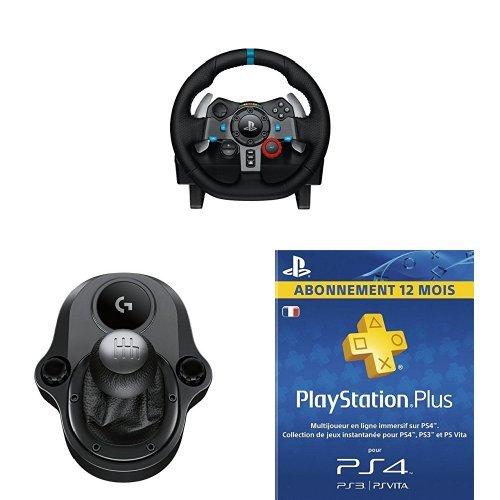Pack Logitech G29 Volant de course pour PS3 et PS4, en cuir et métal avec pédalier - noir + levier de vitesse Driving Force Shifter + abonnement 12 mois PlayStation Plus LiveCards