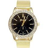JSDDE Uhren,Luxus Genf Römisch Ziffern Armbanduhr Gold Legierung Band Strass Analog Quarzuhr(Schwarz)