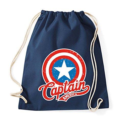 TRVPPY Baumwoll Turnbeutel/Modell Captain America/Beutel Rucksack Jutebeutel Sportbeutel Tasche Fashion Hipster/Farbe Navyblau