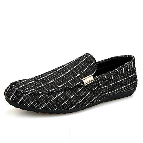 Uomo cucito elemento di cucitura mocassini in tela appartamenti scarpe taglia cn 39/40/41/42/43/44 classic khaki blu grigio colore suola in gomma super morbida(cn 42,g-nero)