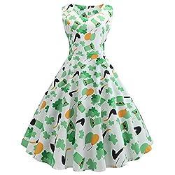 YWLINK St. Patrick's Day Damen Clover Tank Kleid ÄRmellos Abendkleid Party GrüN Elegant Klassisch Rundhals Knielang Prom Swing Kleid(C,L)