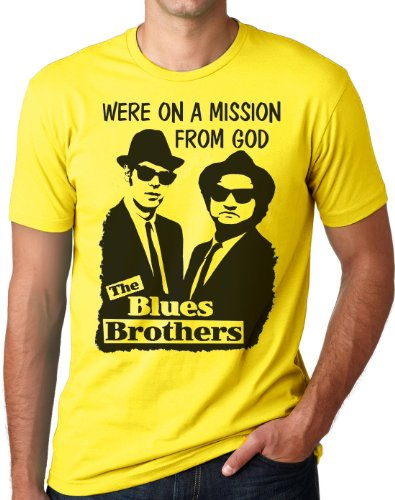 OM3 - BLUES BROTHERS - MISSION FROM GOD - T-Shirt JAKE and ELWOOD BLUES USA, S - 5XL Gelb