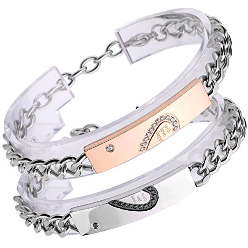 "Zysta Paar Schmuck ""with wish love and happiness"" Schrift Gravur ein Paar Partner Armband Ambänder aus Edelstahl Pärchen Armreifen mit Zirkonia Zirkon für verliebte Herren Damen Geschenkset"