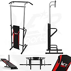 We R Sports Station with Removable Sit Up Bench and Adjustable Pull Up Bar - Black