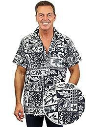 King Kameha | Funky Chemise Hawaïenne | Hommes | XS - 12XL | Manche-Courte | Poche-Avant | Hawaiian-Imprimer | Puzzle | Noir