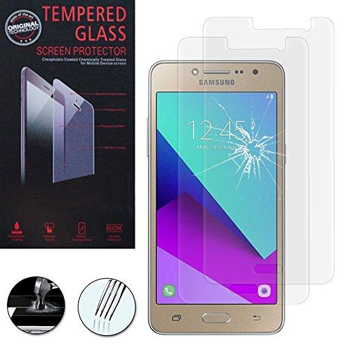 VComp-Shop® 2x Hochwertige gehärtete Panzerglasfolie für Samsung Galaxy Grand Prime Plus/J2 Prime - TRANSPARENT