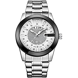 6.11 Men's Fashion Military Sport Stainless Steel Light Converting Power Analogue Quartz Wrist Watch with Auto Day (Silver/White)
