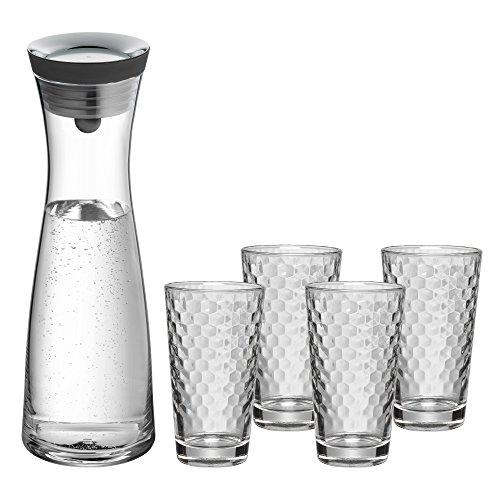 WMF Basic Gläser-Set, 5-teilig, Karaffe mit 4 Gläser 250 ml, Glaskaraffe mit CloseUp-Verschluss,...