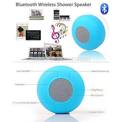 PRAVARA Waterproof Bluetooth Speaker || Handsfree Portable Rechargeable Speakerphone with Built-in Mic, Control Buttons and Dedicated Suction Cup for Showers, Bathroom, Pool, Boat, Car, Beach, & Outdoor Use – Black