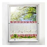 BAILEY JO Scheibengardine mit Gitter Bestickt Bistrogardine Voile Transparent Vorhang (HxB 45x120cm, Rot)