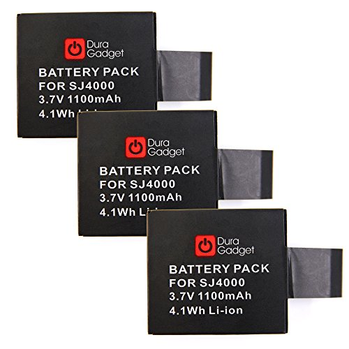 Galleria fotografica DURAGADGET Kit 3 Batterie Di Ricambio Per Action Camera ELECAM Explorer S | Duomishu | CrazyFire | YDI | Maxesla - Ricaricabile - Alta Qualità