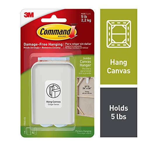 3M 17045-ES Command Jumbo Canvas Hanger White Hooks and 4 Strips, Acrylic, Multicoloured,
