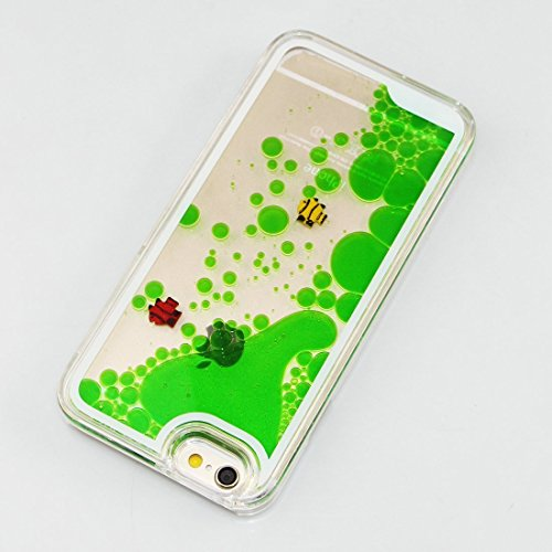 iPhone 6 Plus/6S Plus 14 cm liquide brillant paillettes Bling cas, newstars Design Double Couche dynamique Fluide flottant Quicksand Coque pour iPhone 6 Plus/6S Plus, 3D Design Créatif en plastique tr A Two Fishes Green