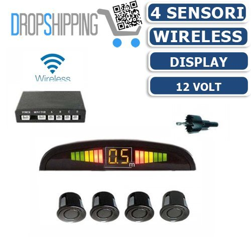 General traders - kit 4 sensori di parcheggio wireless universali retromarcia display auto furgone