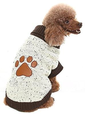 Medium Turtleneck Dog Sweater Brown Paw Pattern from BINGPET