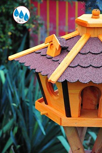 Vogelhaus Massivholz,wetterfest, mit Ständer / mit Standfuß und Silo,Futtersilo für Winterfütterung -Holz Nistkästen & Vogelhäuser- Futterhaus groß ROT mit Ständer rot BR45roMS - 3