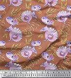Soimoi Braun Baumwoll-Voile Stoff Dinosaurier & Blätter Kinder gedruckt Craft Fabric 1 Meter 42 Zoll breit