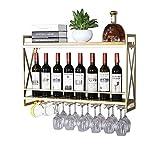 DYFYMX Casier à vin autoportant Support de Verre de vin à l'envers Bar à vin Bar Bar Support de Verre à vin Cintre gobelet Suspendu Verre à vin Rouge (Color : Gold, Size : 80 * 20 * 52CM)