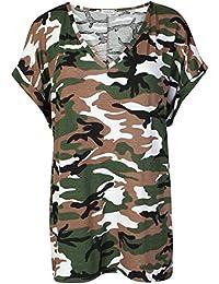 c9e117cc2313 Love Celeb Look LCL-Womens Camouflage Baggy Top à col V pour Femme  Généralement de