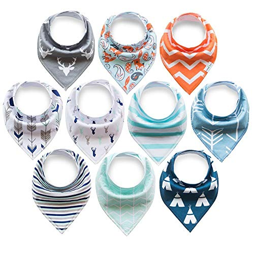 10er Baby Dreieckstuch Lätzchen Spucktuch Halstücher mit Verstellbaren Druckknöpfen Multifunctional, Super Absorbent & Soft Baumwoll, Jungen (Jungen)